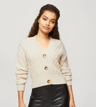 Miss Selfridge Petite twinset cable knit cardigan in oatmeal