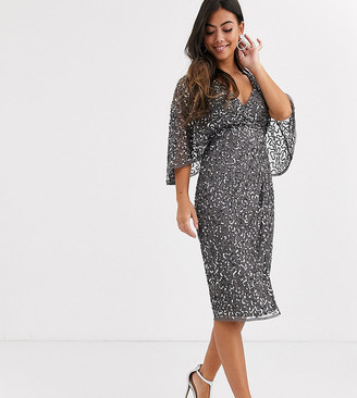 Maya Petite Bridesmaid delicate sequin wrap midi dress in dark grey