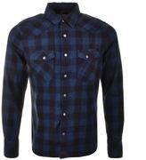 Nudie Jeans Long Sleeved Jonis Check Shirt Blue