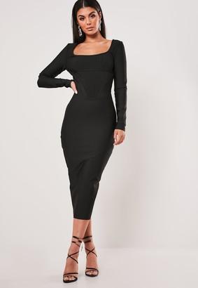 Missguided Petite Premium Black Long Sleeve Bandage Corset Midi Dress