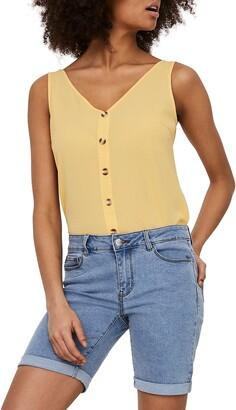 Vero Moda Sasha Button-Up V-Neck Sleeveless Top