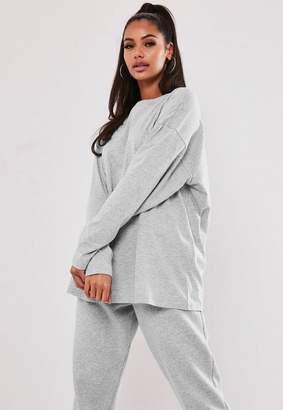 Missguided Gray Long Sleeve Drop Shoulder T Shirt