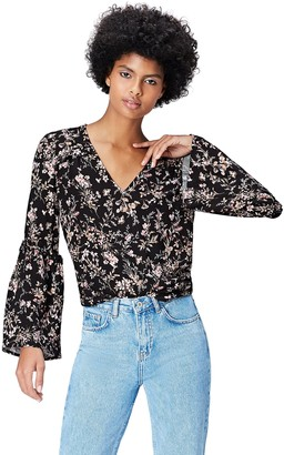 Find. Women's Top with Floral Print and Bell Sleeves and V-Neck