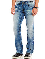 Buffalo David Bitton Slim-Fitting Straight-Leg Marble-Wash Jeans