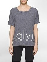 Calvin Klein Womens Performance Oversized Logo Short-Sleeve Boxy T-Shirt