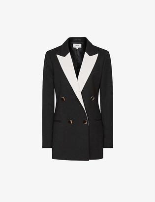 Reiss Chess contrast-lapel crepe tuxedo blazer