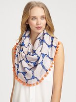 Pom-Pom Accented Silk Snood Scarf