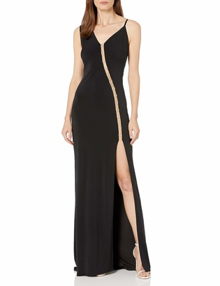 SHO Women's SLVLESS Crepe Gown with MESH Cutout and Split