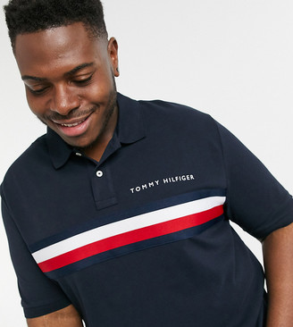 Tommy Hilfiger Big and Tall global chest stripe slim fit polo in navy