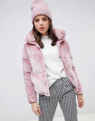 Qed London QED London ruched sleeve velvet padded jacket-Pink