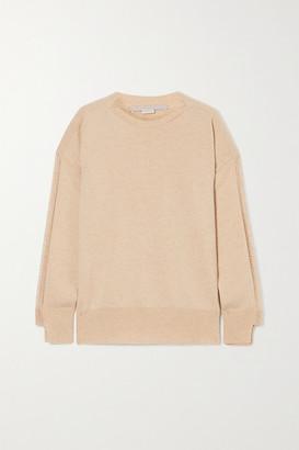 Stella McCartney Net Sustain Crochet-trimmed Cashmere And Wool-blend Sweater - Beige
