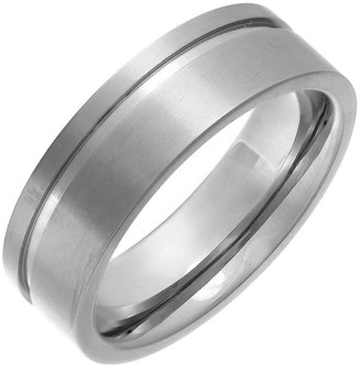 Theia Titanium Flat Court Side Grooved 7mm Ring - Size R