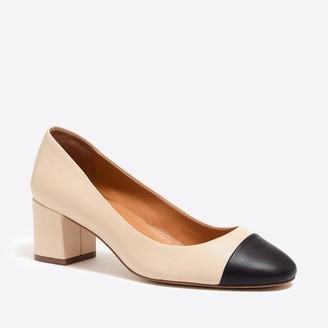 J.Crew Bryn cap-toe leather block heels