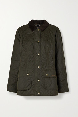 Barbour Gibbon Corduroy-trimmed Quilted Waxed-cotton Jacket - Green