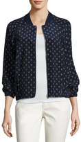 Lafayette 148 New York Dancing Dot Reversible Silk Bomber Jacket, Multi, Plus Size