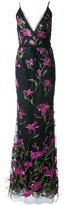 Marchesa long embroidered floral dress
