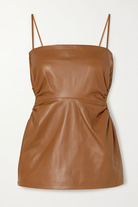 Rokh Cutout Leather Top - Brown