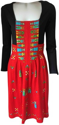 Oleg Cassini Red Cotton Dress for Women Vintage