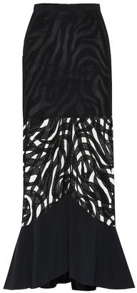 David Koma Zebra-macramA high-rise midi skirt