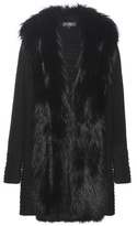 Salvatore Ferragamo Knitted Wool Coat With Fur Trim