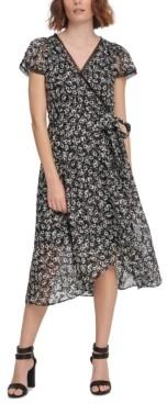 DKNY Chiffon Flutter-Sleeve Midi Dress