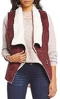 Coco + Jaimeson Faux-Suede Faux-Shearling Diagonal-Zip Vest