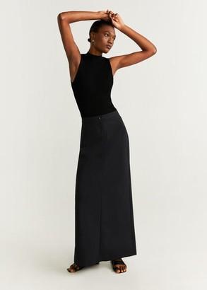 MANGO Straight long skirt navy - 4 - Women