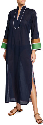 Tory Burch Colorblock Long Side-Slit Caftan