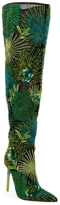Versace 110mm Embroidered Bead Jungle Over-the-Knee Boots