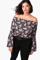 boohoo Plus Una Off The Shoulder Flute Sleeve Paisley Tunic Top
