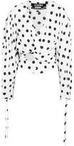 Jacquemus Cropped Gathered Polka-dot Poplin Blouse - White