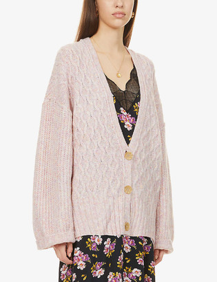 Free People Molly diamond-knit oversized knitted cardigan