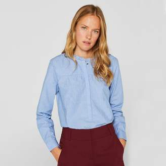 Esprit Organic Cotton Ruffled Blouse with Mandarin Collar and Long Sleeves