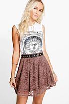 Boohoo Petite Hayley Lace Skater Skirt
