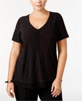 NY Collection Plus Size Studded Chiffon-Hem Top