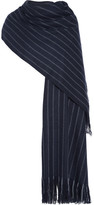 Isabel Marant Arly Striped Wool, Cashmere And Silk-blend Scarf - Navy