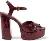 Marc Jacobs Debbie Snake-effect Leather Platform Sandals - Burgundy