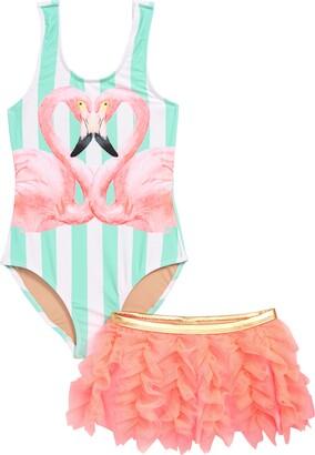 Shade Critters Flamingo One-Piece Swimsuit & Swim Skirt Set