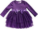 Youngland Purple Bow Long-Sleeve Dress
