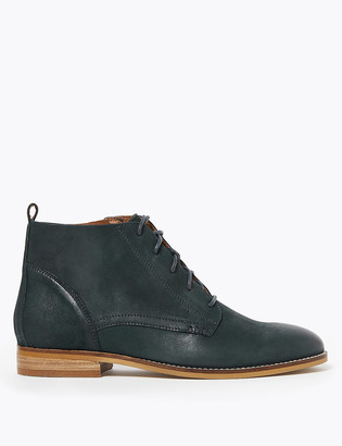 Marks and Spencer Leather Lace Up Flat Ankle Boots