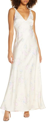 WAYF The Vlora Floral Double Strap Gown
