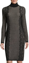 Neiman Marcus Fitted Turtleneck Jacquard Dress, Black/Pink