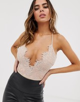 Rare London lace detail bodysuit with scalloped back in peach
