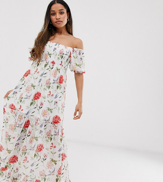 Vila Petite square neck smocked soft floral maxi dress-Multi