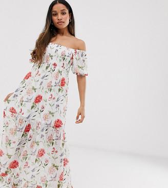 Vila Petite square neck smocked soft floral maxi dress