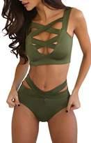 Ninimour Women's Push Up High Waist Bandage Cross 2 Pieces Bikini Set XL