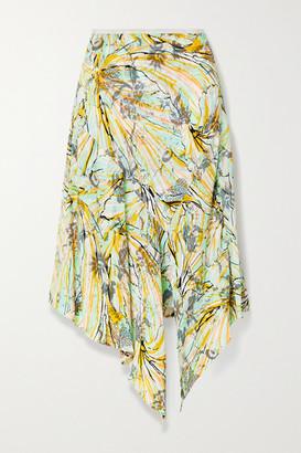 Diane von Furstenberg Florence Reversible Asymmetric Floral-print Crepe Midi Skirt - Yellow