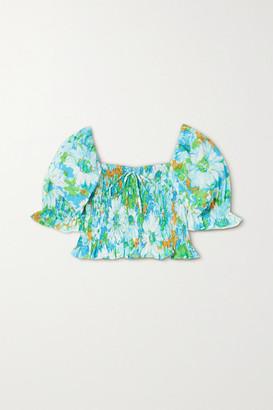 Faithfull The Brand Net Sustain Lenora Cropped Shirred Floral-print Linen Top - Blue