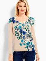 Talbots Botanical Blossom V-Neckline Sweater