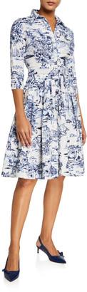 Samantha Sung Audrey Da Vinci Toile Stretch Cotton Belted Dress